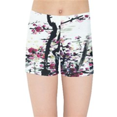 Pink Flower Ink Painting Art Kids Sports Shorts