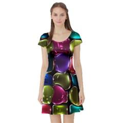 Stained Glass Short Sleeve Skater Dress