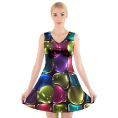 Stained Glass V-Neck Sleeveless Skater Dress