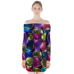 Stained Glass Long Sleeve Off Shoulder Dress