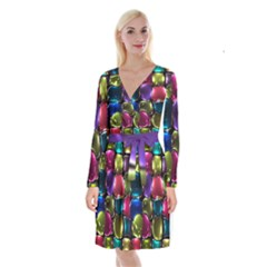 Stained Glass Long Sleeve Velvet Front Wrap Dress