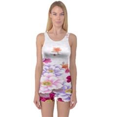 Sweet Flowers One Piece Boyleg Swimsuit