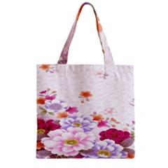 Sweet Flowers Zipper Grocery Tote Bag
