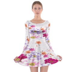 Sweet Flowers Long Sleeve Skater Dress