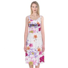 Sweet Flowers Midi Sleeveless Dress