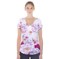 Sweet Flowers Short Sleeve Front Detail Top