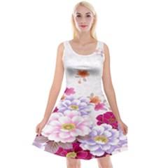 Sweet Flowers Reversible Velvet Sleeveless Dress