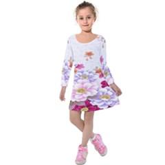 Sweet Flowers Kids  Long Sleeve Velvet Dress