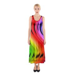 Colorful Vertical Lines Sleeveless Maxi Dress