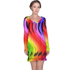Colorful Vertical Lines Long Sleeve Nightdress