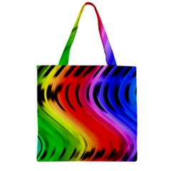 Colorful Vertical Lines Zipper Grocery Tote Bag