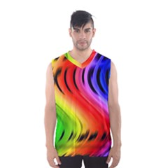 Colorful Vertical Lines Men s Basketball Tank Top