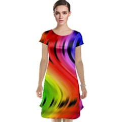 Colorful Vertical Lines Cap Sleeve Nightdress