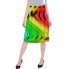 Colorful Vertical Lines Midi Beach Skirt