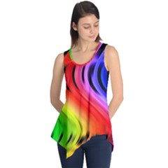 Colorful Vertical Lines Sleeveless Tunic