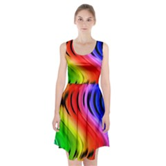 Colorful Vertical Lines Racerback Midi Dress