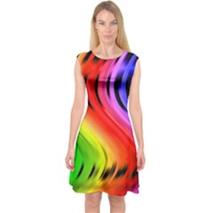 Colorful Vertical Lines Capsleeve Midi Dress
