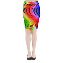 Colorful Vertical Lines Midi Wrap Pencil Skirt
