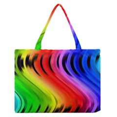 Colorful Vertical Lines Medium Zipper Tote Bag