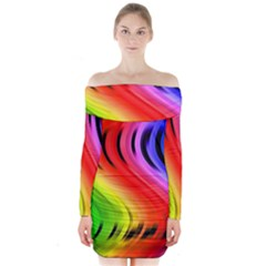 Colorful Vertical Lines Long Sleeve Off Shoulder Dress