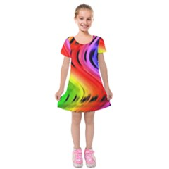Colorful Vertical Lines Kids  Short Sleeve Velvet Dress