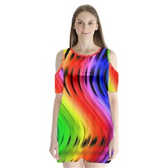 Colorful Vertical Lines Shoulder Cutout Velvet  One Piece