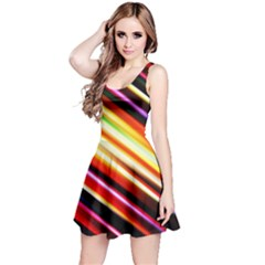 Funky Color Lines Reversible Sleeveless Dress