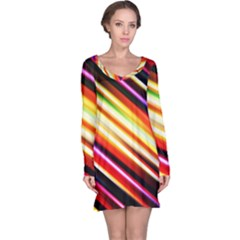 Funky Color Lines Long Sleeve Nightdress