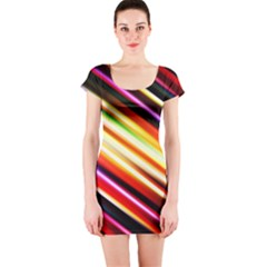 Funky Color Lines Short Sleeve Bodycon Dress