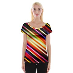 Funky Color Lines Cap Sleeve Tops