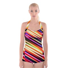 Funky Color Lines Boyleg Halter Swimsuit