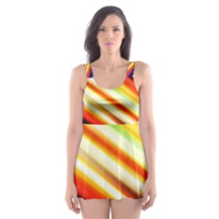 Funky Color Lines Skater Dress Swimsuit