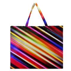 Funky Color Lines Zipper Large Tote Bag