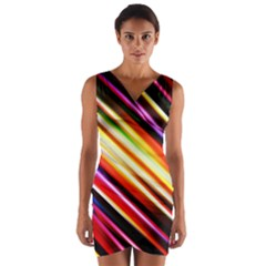 Funky Color Lines Wrap Front Bodycon Dress