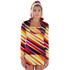 Funky Color Lines Women s Long Sleeve Hooded T Shirt