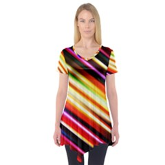 Funky Color Lines Short Sleeve Tunic