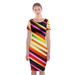 Funky Color Lines Classic Short Sleeve Midi Dress