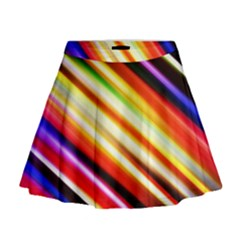 Funky Color Lines Mini Flare Skirt
