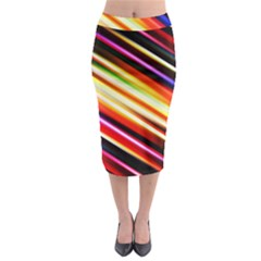 Funky Color Lines Midi Pencil Skirt