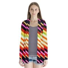 Funky Color Lines Drape Collar Cardigan
