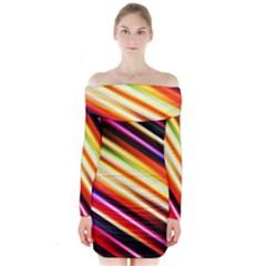 Funky Color Lines Long Sleeve Off Shoulder Dress