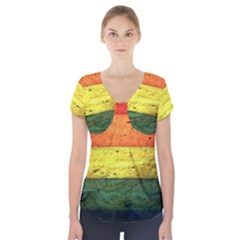 Five Wall Colour Short Sleeve Front Detail Top