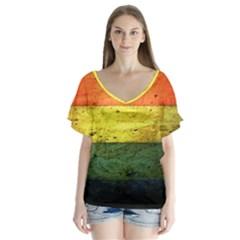 Five Wall Colour Flutter Sleeve Top