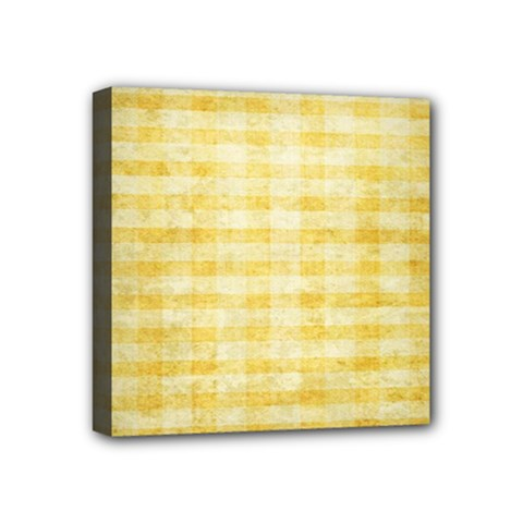 Spring Yellow Gingham Mini Canvas 4  X 4