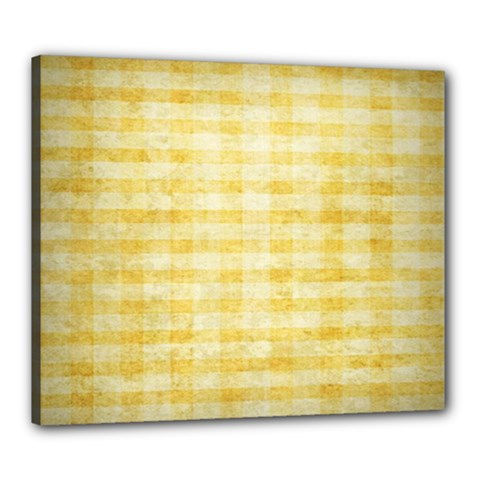 Spring Yellow Gingham Canvas 24  X 20