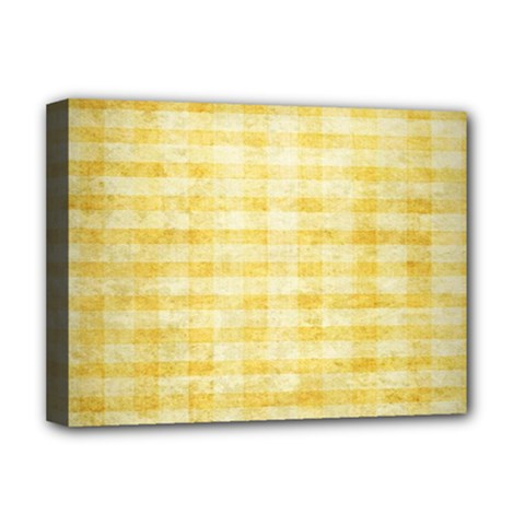 Spring Yellow Gingham Deluxe Canvas 16  x 12