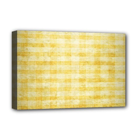 Spring Yellow Gingham Deluxe Canvas 18  X 12