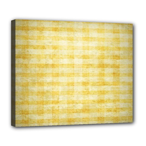 Spring Yellow Gingham Deluxe Canvas 24  X 20