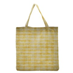 Spring Yellow Gingham Grocery Tote Bag