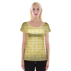 Spring Yellow Gingham Cap Sleeve Tops